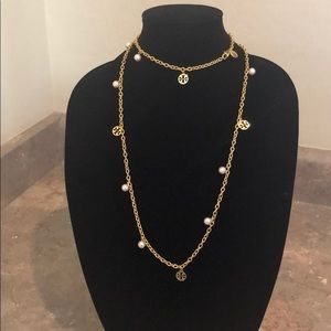 Tory Burch Logo & Faux Pearl Link Chain Necklace